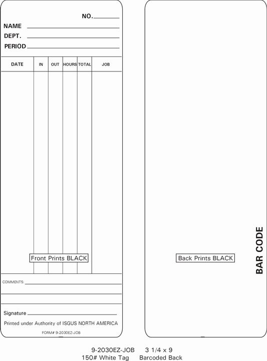 Isgus 2030EZ-JOB Labor Costing Time  Cards (9-2030EZ-JOB)
