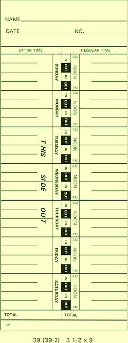 39 Time Cards (Sun-Sat)