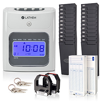 Lathem 400E Top Feeding Time Clock Bundle