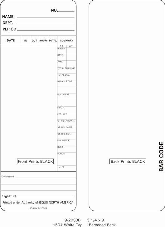 Isgus 2030B TIme Cards (9-2030B)