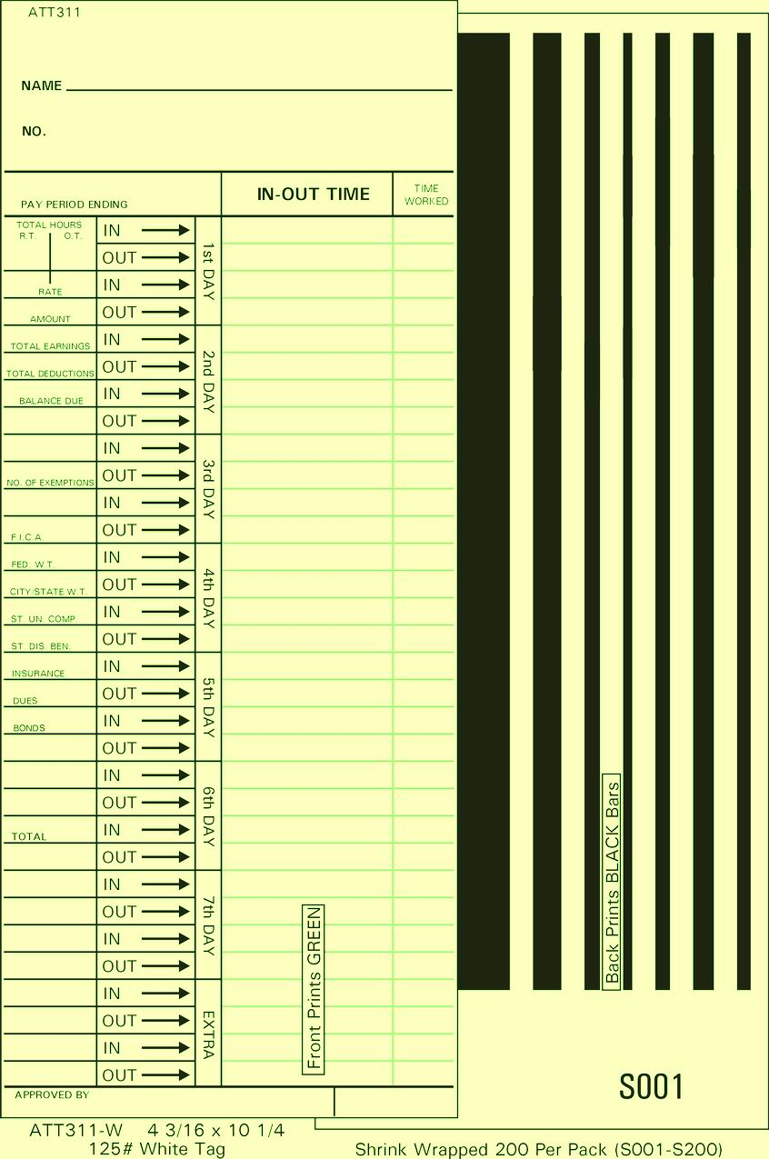 ATT311-W Time Cards