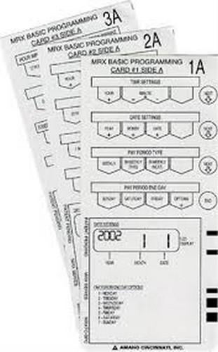 Amano MRX-35 Basic Programming Cards