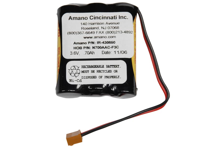 Amano MJR 7000/8000 Ni-Cad Battery Replacement IR-430850